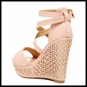 92217c0d923c Elegant Shoes - ELEGANT BLUSH ANKLE STRAP ESPADRILLE WEDGE SANDALS